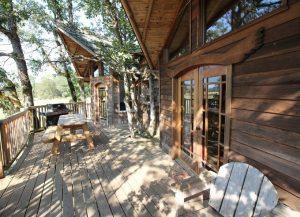 """Out'n'About Treehouse Treesort - Khách sạn cây thuộc thành phố Cave Junction, bang Oregon, Mỹ, có 16 phòng. Giá một đêm nghỉ từ 150 đến 330 USD. Lưu lại đây cho bạn cảm giác như ở với những con người kỳ cục hơn là trong một khách sạn bởi, công trình được quản lý bởi một gia đình từng bán áo phông cho khách và tự gọi là """"lính ngự lâm"""". Phòng của khách sạn không có khóa, ở giữa vùng đầy cây cối cạnh rừng quốc gia Siskiyou. Ngoài lưu trú, du khách còn được tham quan trại nuôi ngựa và thử cảm giác mạnh với trò trượt zipline."""