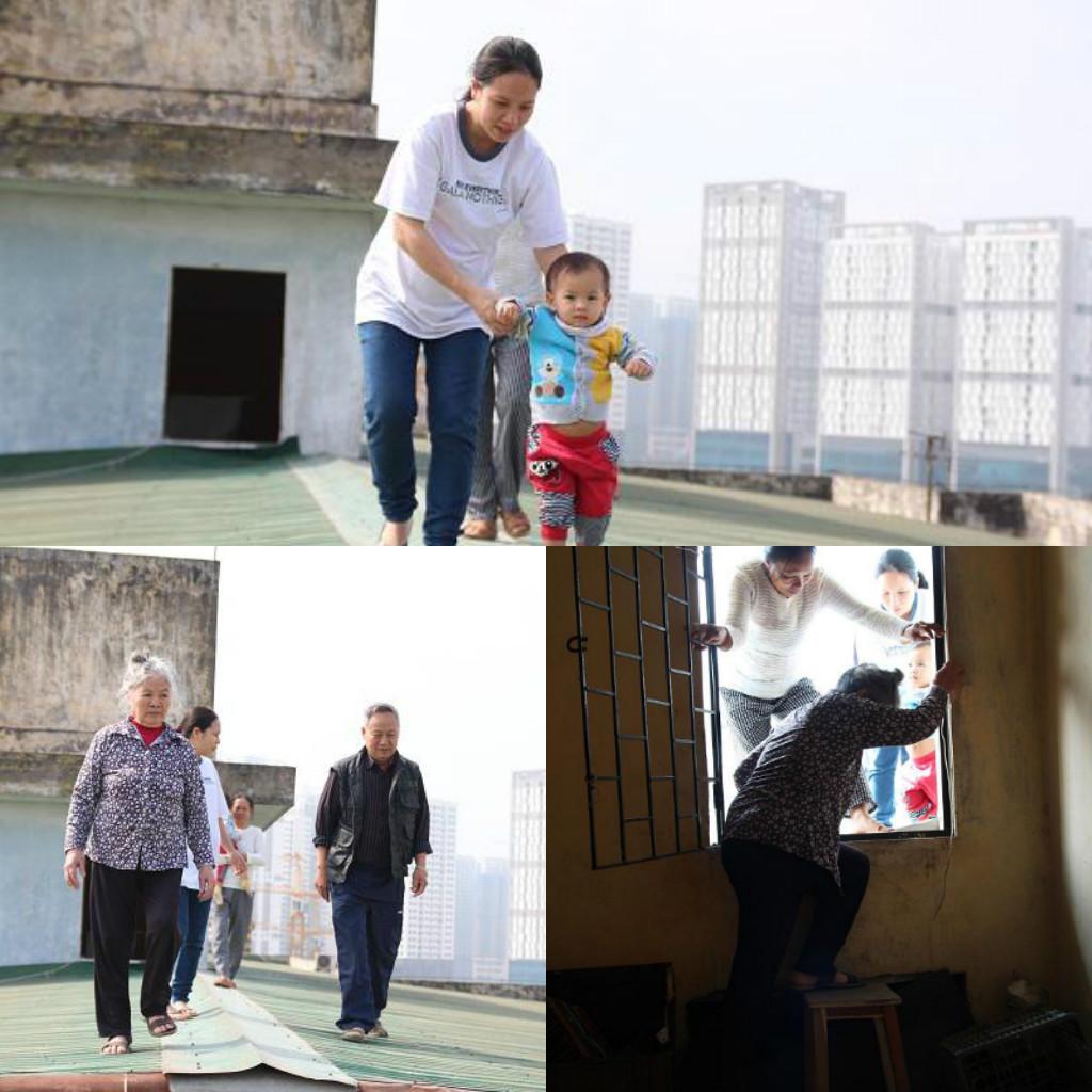 Hà Nội : Trẻ nhỏ 2 tuổi, bà bầu 8 tháng liều mạng đi qua mái tôn chung cư vì thang máy hỏng