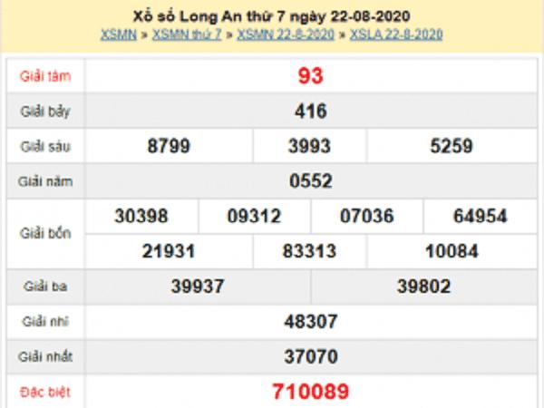 Soi cầu KQXSLA- xổ số long an thứ 7 ngày 29/08/2020 chuẩn xác