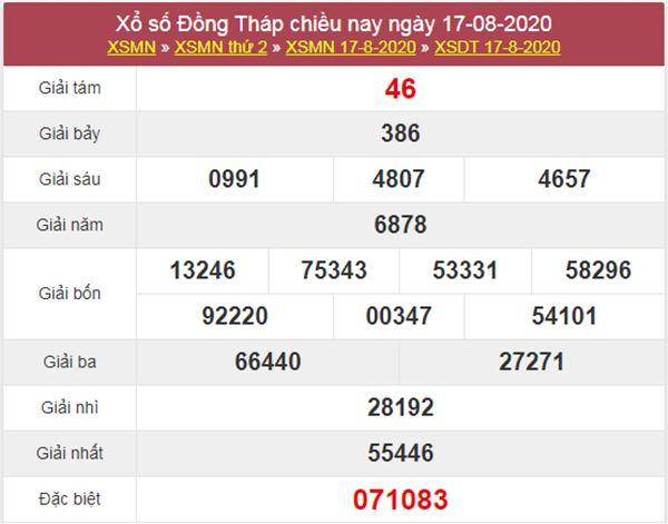 Soi cầu XSDT 24/8/2020 chốt lô Đồng Tháp thứ 2 cực chuẩn